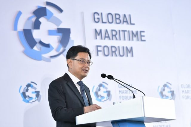 DPM Heng speaking to global maritime executives and thought leaders at GMF's Annual Summit in Singapore