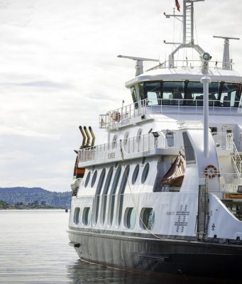 The MS Kongen, a ferry powered by the equivalent of 20 Tesla batteries. Port of Oslo