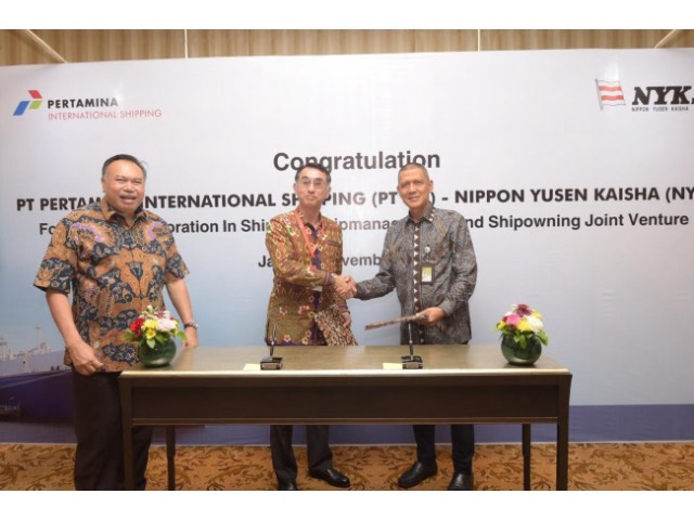 From left, Gandhi Sriwidodo, Logistic, Supply Chain and Infrastructure director, Pertamina; Akira Kono, managing corporate officer and chief executive of NYK's Energy Division, NYK; Tafkir Husni, president director, PIS