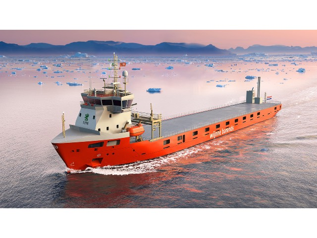 Four short-sea cargo vessels being built for Wijnne & Barends will feature LNG propulsion and storage systems provided by Wärtsilä. Image copyright: Wijnne & Barends