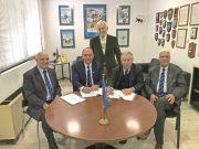 (L-R) C. Pozidis, Vice Chairman/HNSA, A. Palatianos, Chairman/HNSA, D. Mitsatsos, Dir. General/HELMEPA, Dr G. Gratsos, Chairman of the BoD/HELMEPA and A. Lambrou, Gen. Secretary/HNSA during the signing of the Memorandum of Cooperation