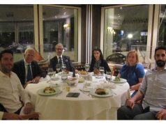 The photo is taken at The Yacht Club of Greece, on the 18th October 2019. Left to right: Oliver Petrakakos, Harilaos Petrakakos, Anastasios Maraslis, Sapfo Daveli Maraslis, Mary Pothitos and Alexandros Petrakakos.