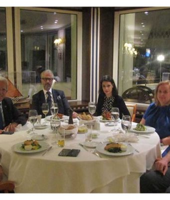 The photo is taken at The Yacht Club of Greece, on the 18th October 2019. Left to right: Oliver Petrakakos, Harilaos Petrakakos, Anastasios Maraslis, Sapfo Daveli Maraslis, Mary Pothitos and Alexandros Petrakakos.
